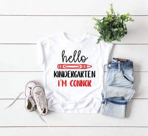 Kindergarten shirt, hello kindergarten shirt, first day of school shirt, Kindergarten tee, announcement Kindergarten tee, kindergarten tee