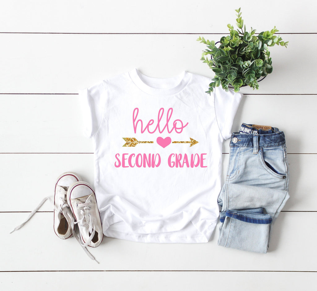 second grade shirt, 2nd grade shirt, hello second grade shirt, first day of school shirt, 2nd grade tee, announcement second grade tee
