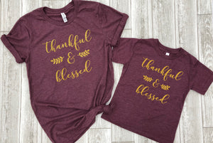 Mommy and me fall shirts, Cute fall shirts,  Thankful and blessed, Thanksgiving matching shirts, mommy and me shirts, cute religious tees