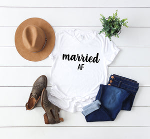 Married af shirt - wifey t-shirt - honeymoon shirt - wifey tee - couples shirt - bride shirt - bride gifts -wedding gifts - bridal gifts