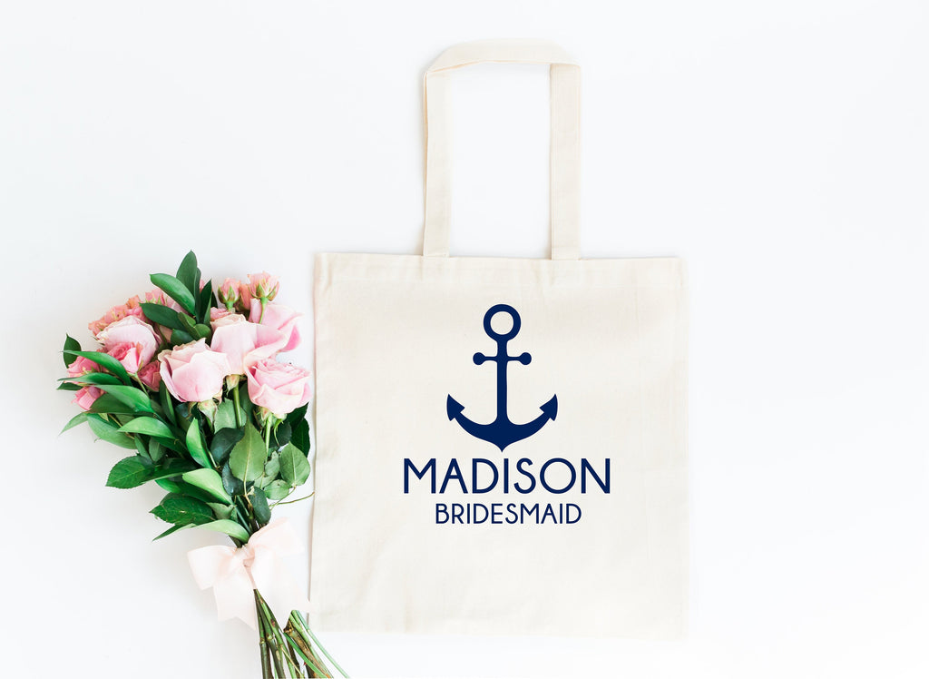 Anchor bridesmaid tote, personalized bridesmaid gift, bridesmaid tote bag, bridesmaid bag, bridal tote, bridesmaid gift, bridal party tote