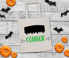 trick or treat bag, Frankenstein halloween bag, personalized halloween bag, custom halloween bag, personalized trick or treat bags