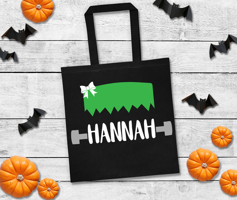 personalized Frankenstein halloween bag, trick or treat bags, custom halloween bag, personalized halloween bag, custom trick or treat bag