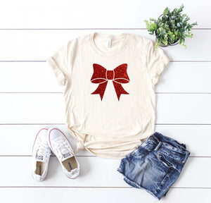 Cute women's Christmas glitter bow shirt