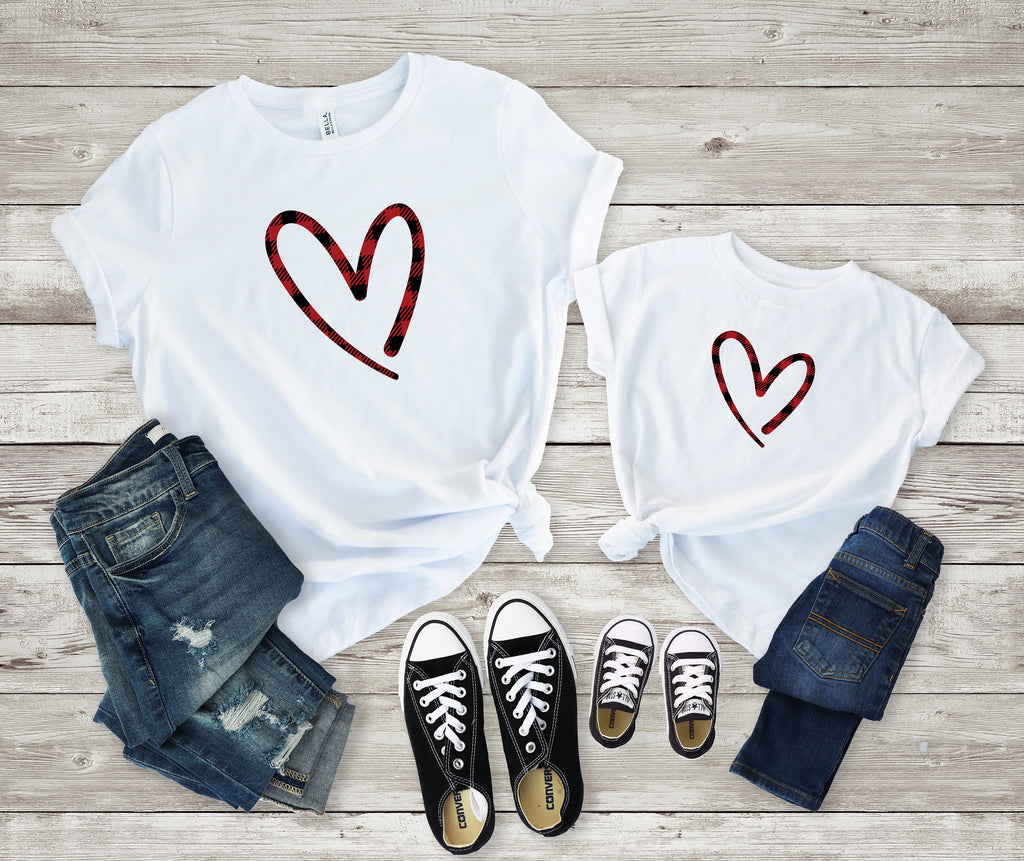 Mommy and me heart shirt - Matching buffalo plaid shirt -mom and daughter valentines day shirt - buffalo plaid heart shirt - mommy and me