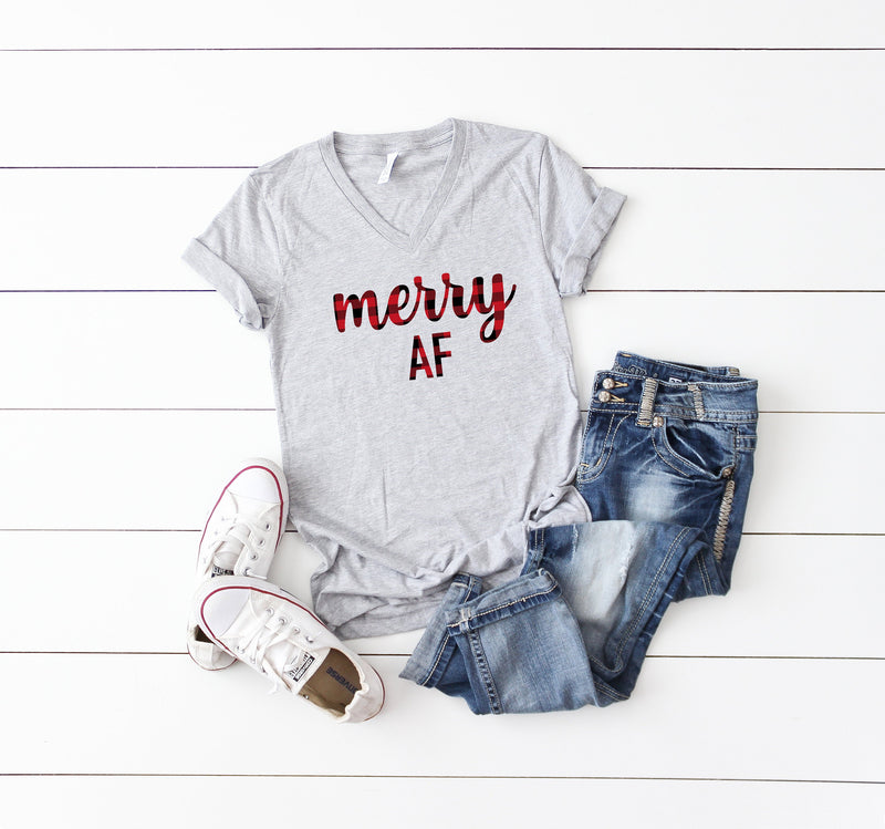 Merry af shirt, Buffalo plaid t-shirt, Holiday shirt, Women's Christmas shirt, cute merry shirt, women's Christmas top, women's holiday tee
