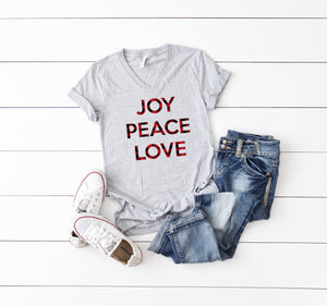 Joy peace love top, Christmas party shirt, Buffalo plaid t-shirt,Women's Christmas shirt,Women's Christmas top, Women's holiday tee,Xmas tee