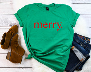 Merry shirt, Holiday tee, Cute Christmas shirt, Women's Christmas t-shirt, Christmas party shirt, Women's Christmas top, Women's holiday tee