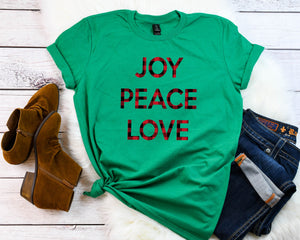 Joy peace love, Buffalo Plaid Holiday tee,Buffalo plaid t-shirt, Cute Women's Christmas shirt, Christmas party shirt, Women's Christmas top