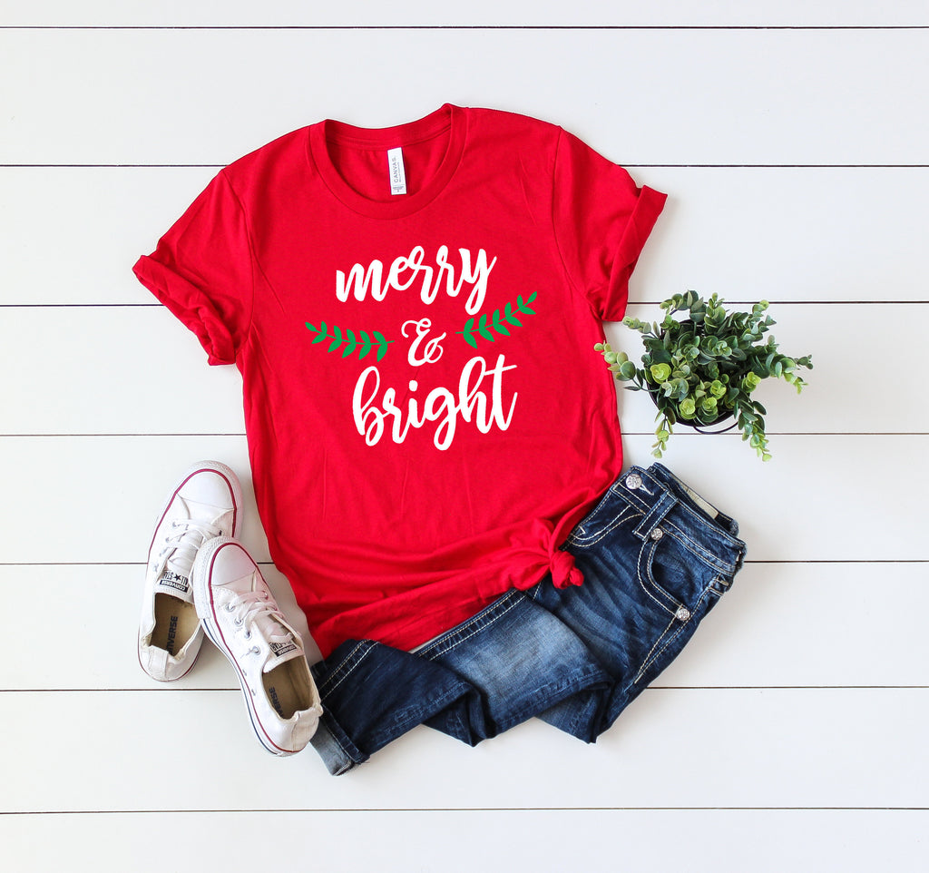 Merry and bright shirt,Christmas shirt,Christmas party shirt,Cute Women's Christmas shirt,Women's Christmas top,Xmas shirt,Holiday t-shirt