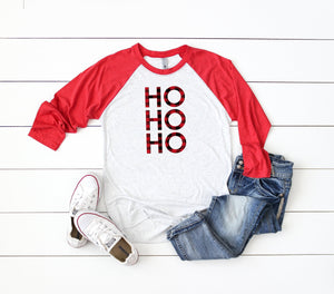 ho ho ho shirt, buffalo plaid shirt,Cute holiday tee, Christmas party shirt,Women's Christmas shirt,Christmas top,Cute holiday t-shirt