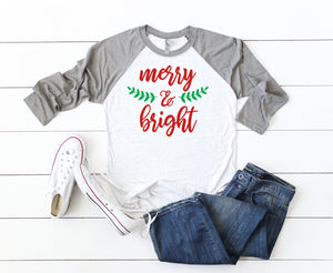 Merry and bright shirt, cute holiday t-shirt, Christmas shirt, Women's Christmas shirt,Christmas top, Cute holiday t-shirt, Women's xmas tee