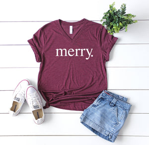 Merry shirt, Women's holiday tee, Christmas party shirt,Women's Christmas shirt,Cute Christmas top,Cute holiday t-shirt,Women's xmas shirt