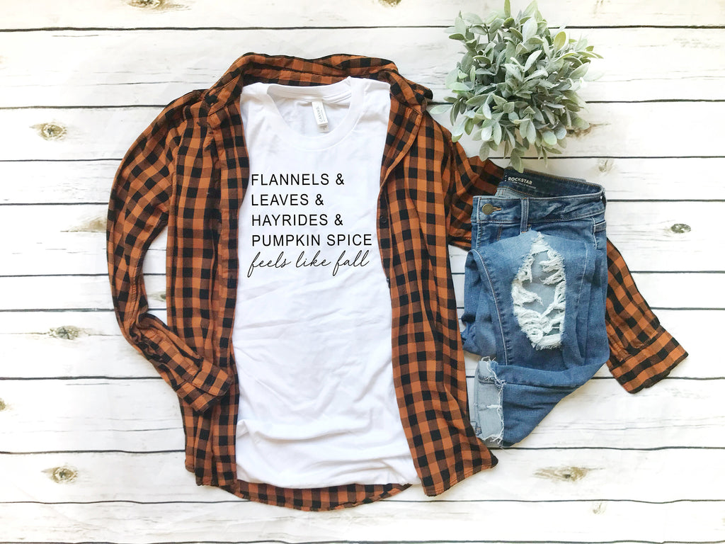 Feels like fall top-Pumpkin spice shirt- Shirt for Fall- Cute Women's Fall Tee -Fall Shirt Women -hello fall shirt -fall t-shirt for women-