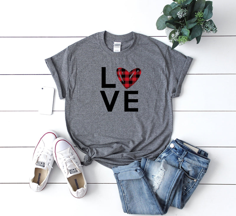 buffalo plaid shirt - valentines day buffalo plaid - buffalo plaid heart shirt - love shirt - valentines day gift  - women's shirt