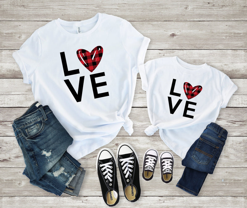 mommy and me valentines shirt- mom and daughter shirt  - Matching valentines shirt - buffalo plaid heart shirt - mommy and me
