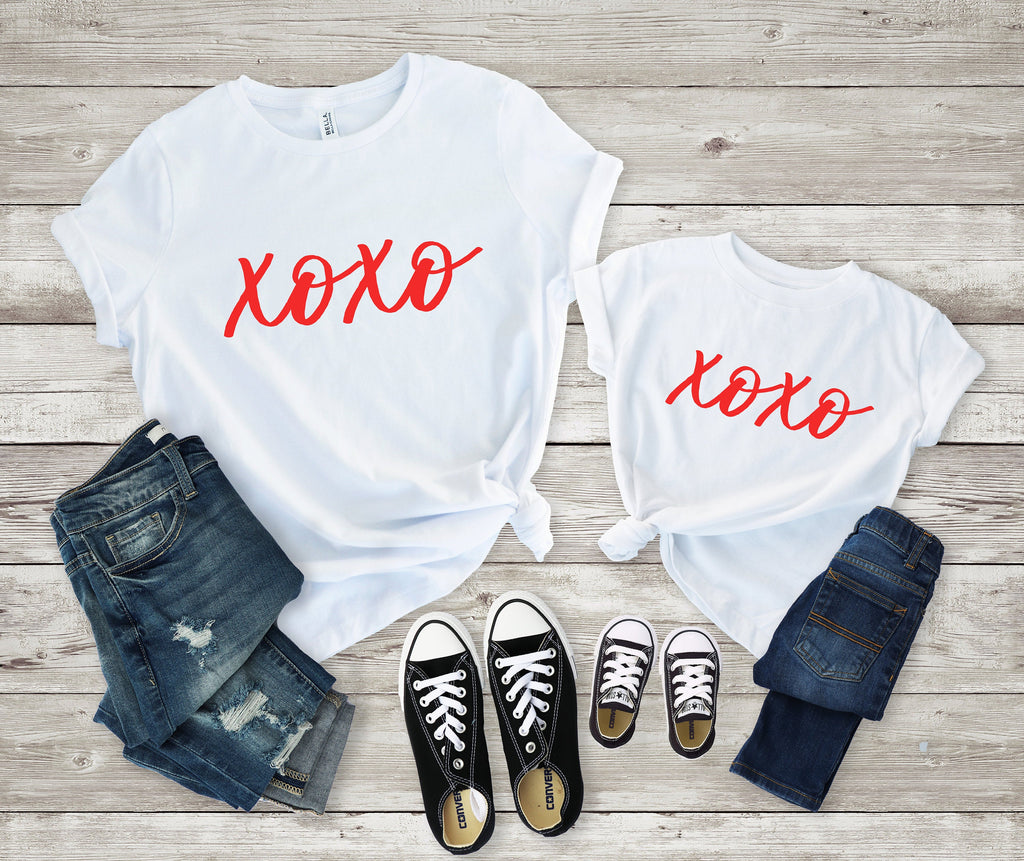 Matching valentines shirt- xoxo valentines day shirt- Mommy and me Valentines shirt  -mom and daughter valentines day shirt - mommy and me