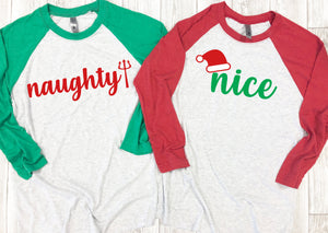 Naughty or nice couple shirts, Christmas couple shirts,Funny Christmas shirts,Matching couple Christmas shirts, Holiday couple shirts,