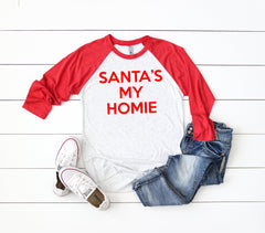 Santa's My Homie Baseball tee, Christmas shirts,Funny Christmas shirts,Holiday shirts,Christmas party shirt