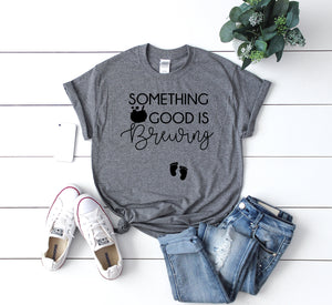 Pregnancy Announcement tee -October pregnancy announcement- Women's Halloween Shirt -Something Good is Brewing - Bumps first Halloween