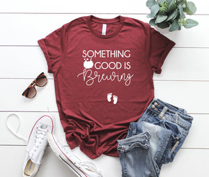 Cute Pregnancy Announcement tee -Bumps first Halloween- October pregnancy announcement- Women's Halloween Shirt -Something Good is Brewing -