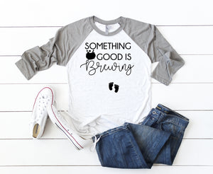 October pregnant tees- Cute October pregnancy t-shirts- Pregnancy reveal t-shirt- Something good is brewing- Halloween pregnancy t-shirt-