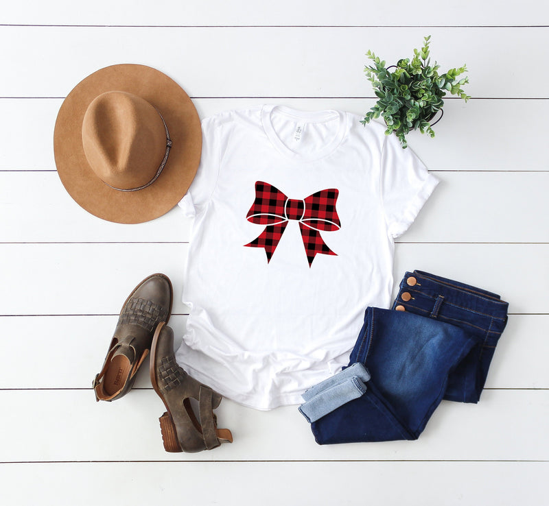 Women's Christmas shirt, buffalo plaid shirt, holiday outfit, Ugly Christmas top, bow shirt, Xmas t-shirt, buffalo plaid Christmas shirt,