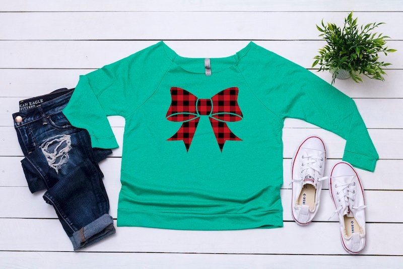 Ugly Christmas sweater, Women's Buffalo plaid top, Women's holiday top, Cute sweater, Christmas top ,Cute holiday t-shirt,Women's xmas shirt