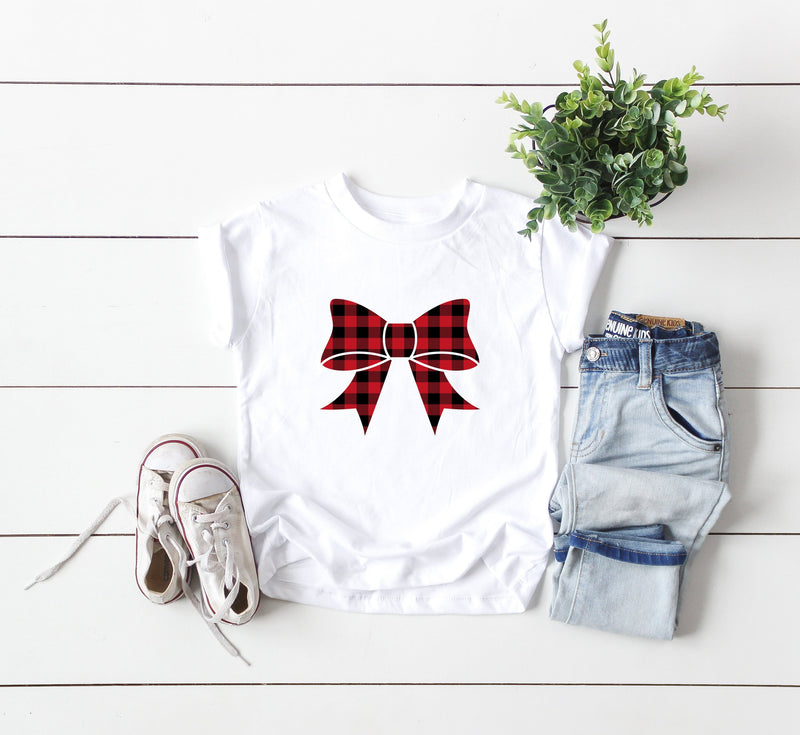 Kids Holiday Shirt,Buffalo plaid top, Kids Christmas Shirt,Christmas Shirt,Christmas Celebration, bow shirt, Holiday outfit, Kids Xmas top