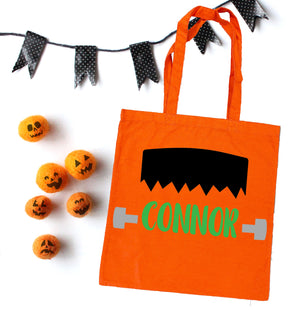Frankenstein halloween bag, personalized halloween bag, trick or treat bags, custom halloween bag, personalized trick or treat bags