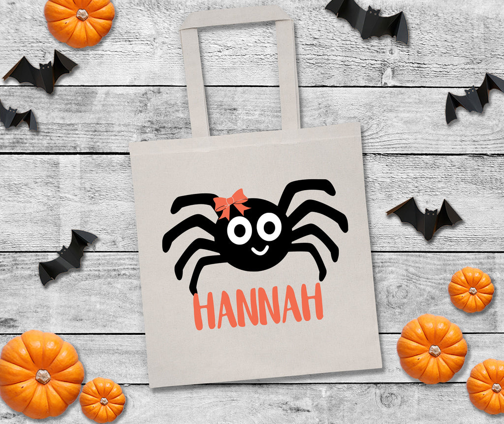 Spider personalized halloween bag, trick or treat bags, custom halloween bag, personalized halloween bag, custom trick or treat bags