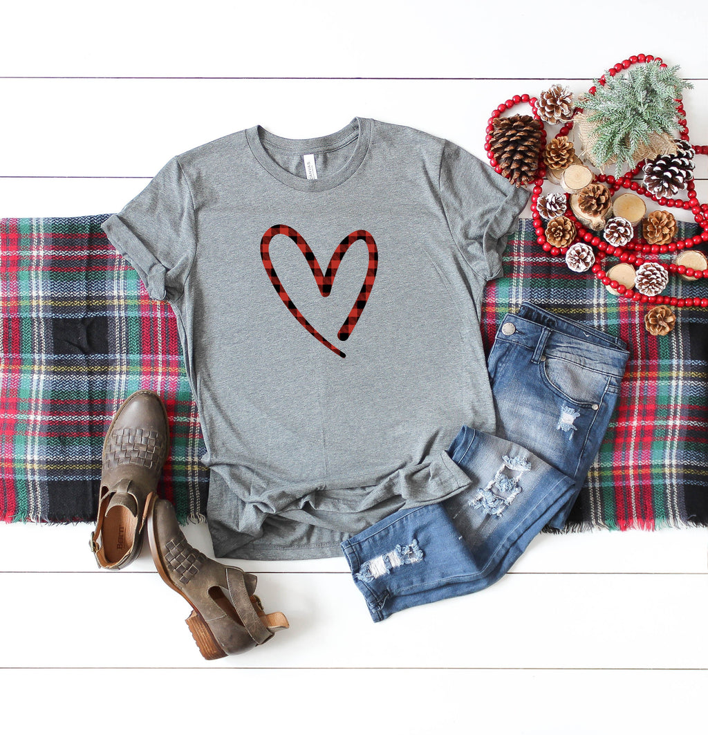 buffalo plaid shirt - valentines day shirt - buffalo plaid heart shirt - heart shirt - valentines day gift - gift for her - womens shirt