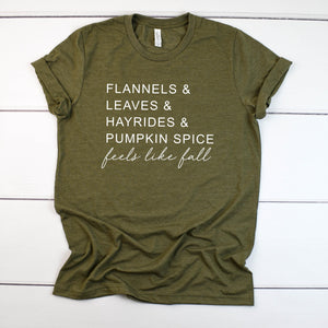 Cute Women's Fall Tee -Fall Shirt Women -hello fall shirt -fall t-shirt for women- Feels like fall top-Pumpkin spice shirt- Shirt for Fall