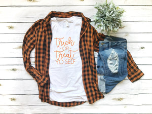 Trick or treat Shirt- Cute halloween outfit- Women's halloween shirt- halloween costume shirt -Halloween top-  Women's funny halloween top