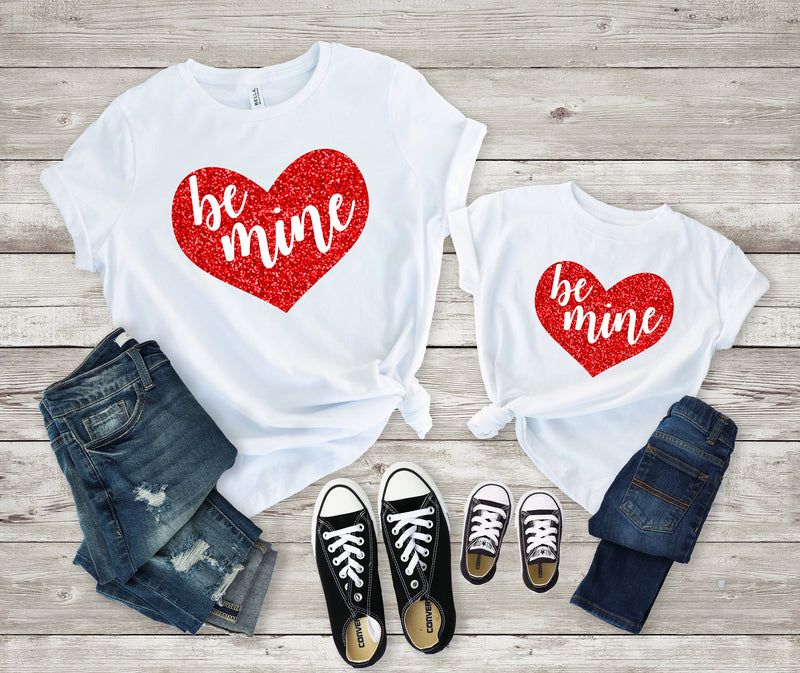 Cute Mommy and me valentines shirt - Be mine tee-Matching valentines shirt -mom and daughter valentines day shirt - Valentines Glitter shirt