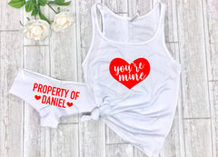 Valentines day Gift for husband, Valentines day gift for boyfriend, Your mine top, Custom panties, Sexy sleepwear, Property of undies