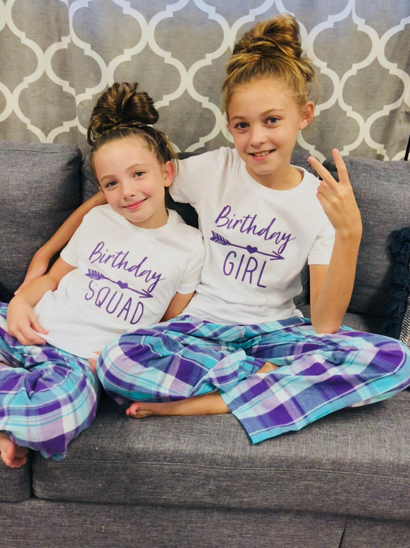 birthday sleepover party, slumber birthday party, birthday girl, birthday squad,  party pajama set, cute tween pajama set, slumber party