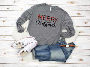 Buffalo plaid Christmas Tee, Merry Merry Merry shirt, Christmas party shirt, Cute Christmas shirt,Women's Christmas top, Buffalo Plaid shirt