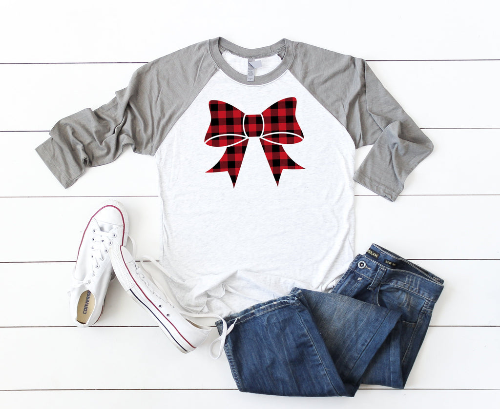 Cute holiday tee, Buffalo plaid top, Women's bow shirt, Christmas party shirt,Women's Christmas shirt,Christmas top,Cute holiday t-shirt