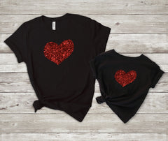 Mommy and me valentines shirt - Matching valentines shirt -mom and daughter valentines day shirt - red glitter heart shirt - mommy and me