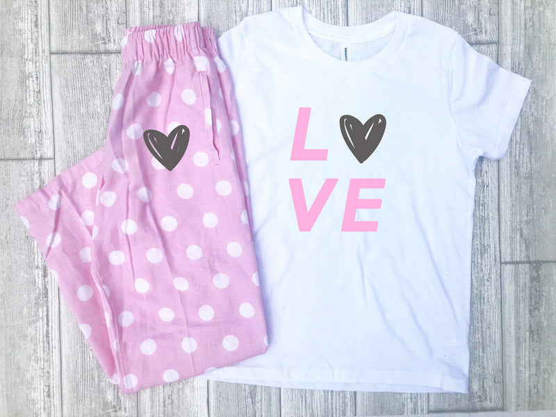 Valentines day pajamas, Love pajamas, cute valentines pajamas for kids, Love shirt, Heart shirt, Valentines day pjs, Polka dot pajamas