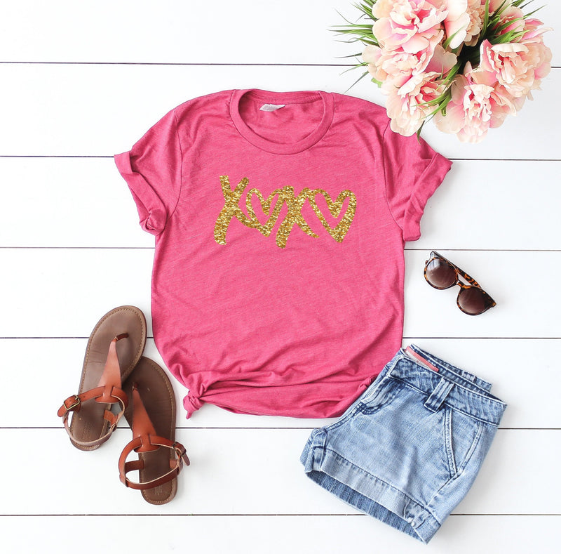 Valentines day outfit- Glitter shirt- Valentines day shirt- Valentine top-Glitter Valentines day shirt- Xoxo top- Shirt for valentines day-