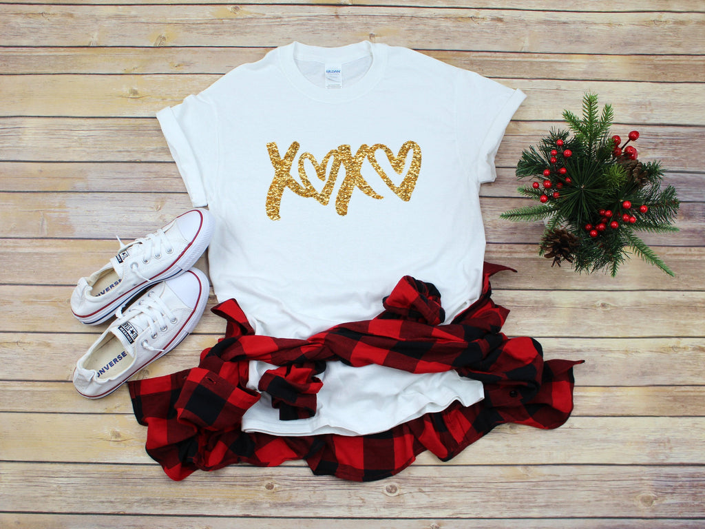 Glitter Valentines day shirt Love shirt -Cute Valentines day outfit- Glitter shirt- Valentines day shirt- Valentine top - Xoxo top-