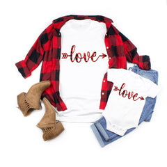 Buffalo plaid valentines day shirts - Love shirts- Valentine's day shirt  -Cute Mommy and me shirts  - Women's valentines day shirt-