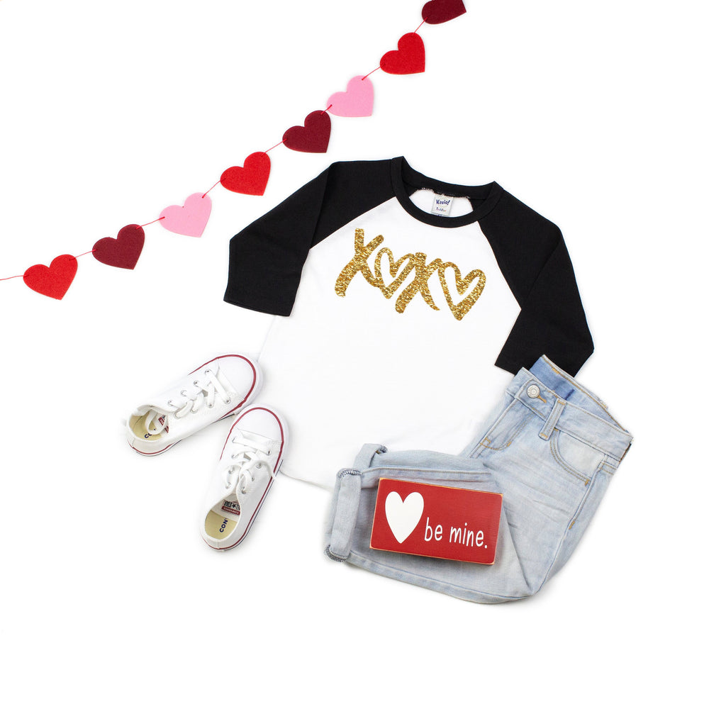 Valentines kid's shirt,Xoxo shirt, Glitter shirt, Kids baseball shirt, Valentines day outfit, Cute V-day outfit, Children's Holiday top