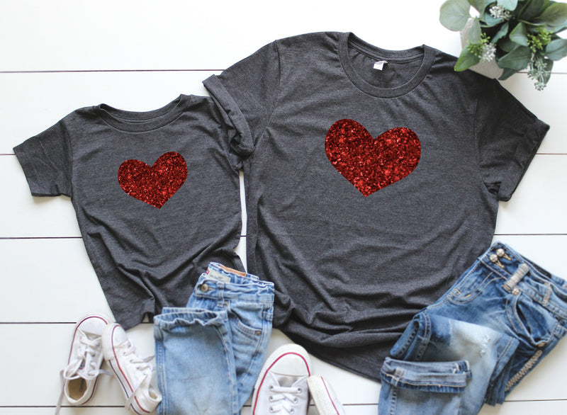 valentines shirt - Matching valentines shirt -mom and me valentines day shirt - glitter heart shirt - mommy and me glitter shirts