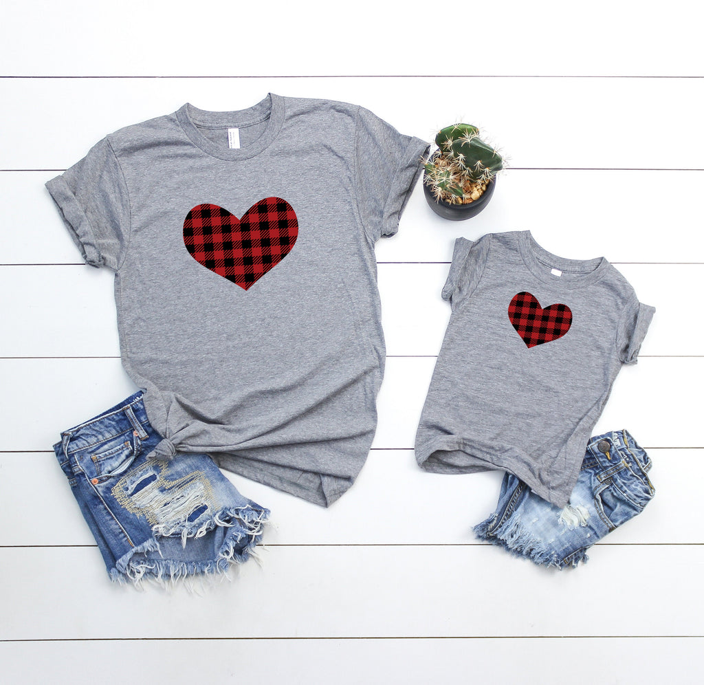 Mommy and me valentines shirt - Matching valentines shirt -mom and daughter valentines day shirt - buffalo plaid heart shirt - mommy and me