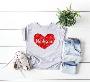 personalized valentines day shirt - valentine kids - Valentine's shirt for girls  - girls valentines day shirt - heart shirt - glitter heart