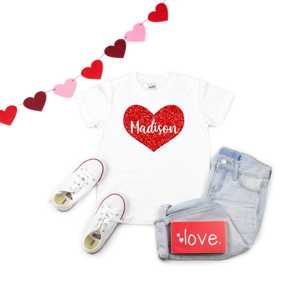 Valentine's shirt for girls - valentine kids - girls valentines day shirt - personalized valentines day shirt - heart shirt - glitter heart