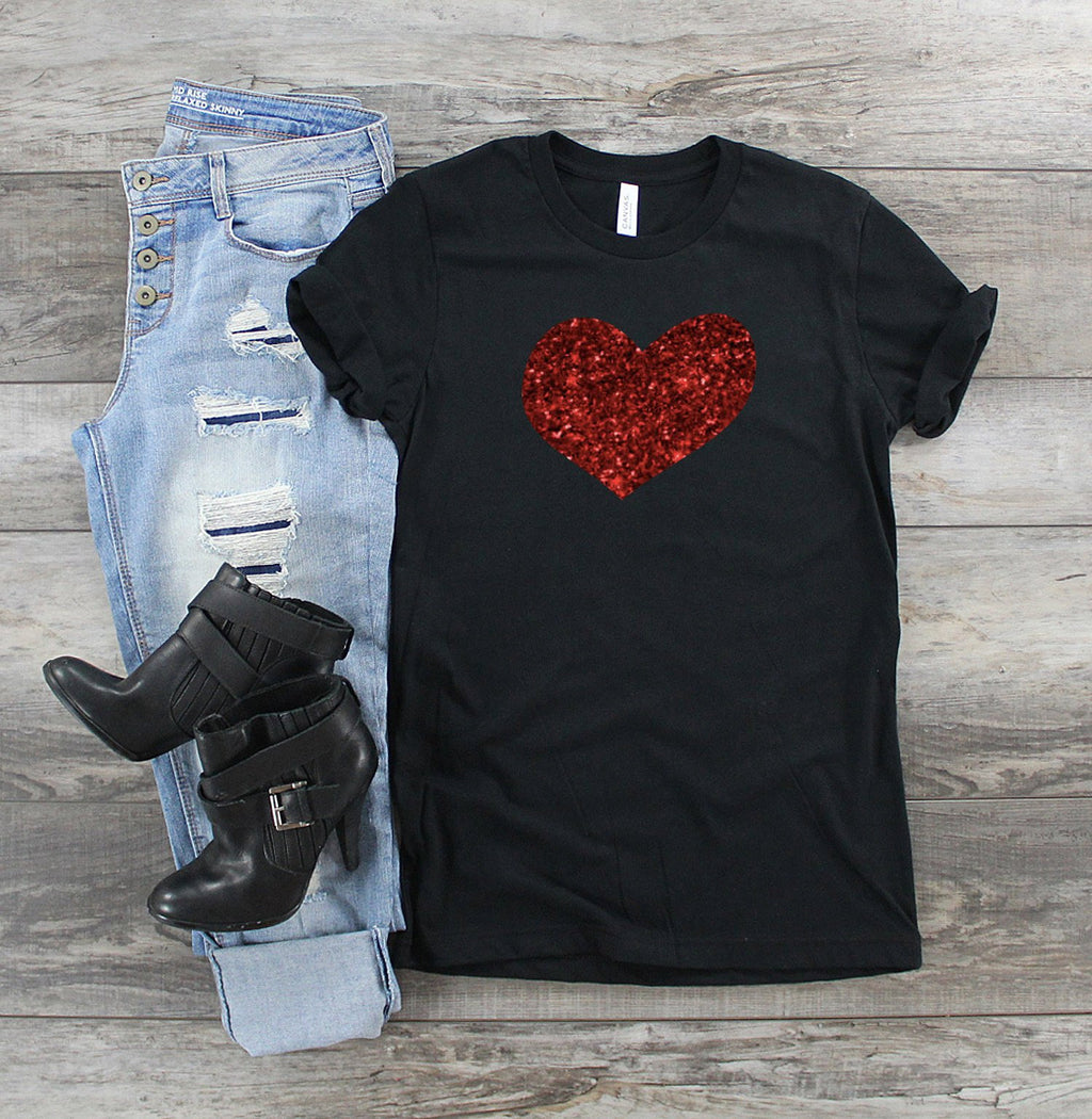 women's glitter heart  shirt - valentines day shirt - glitter heart shirt - heart shirt - valentines day gift - gift for her - womens shirt